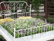 antique bed turned garden