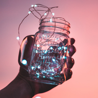 string lights in mason jar
