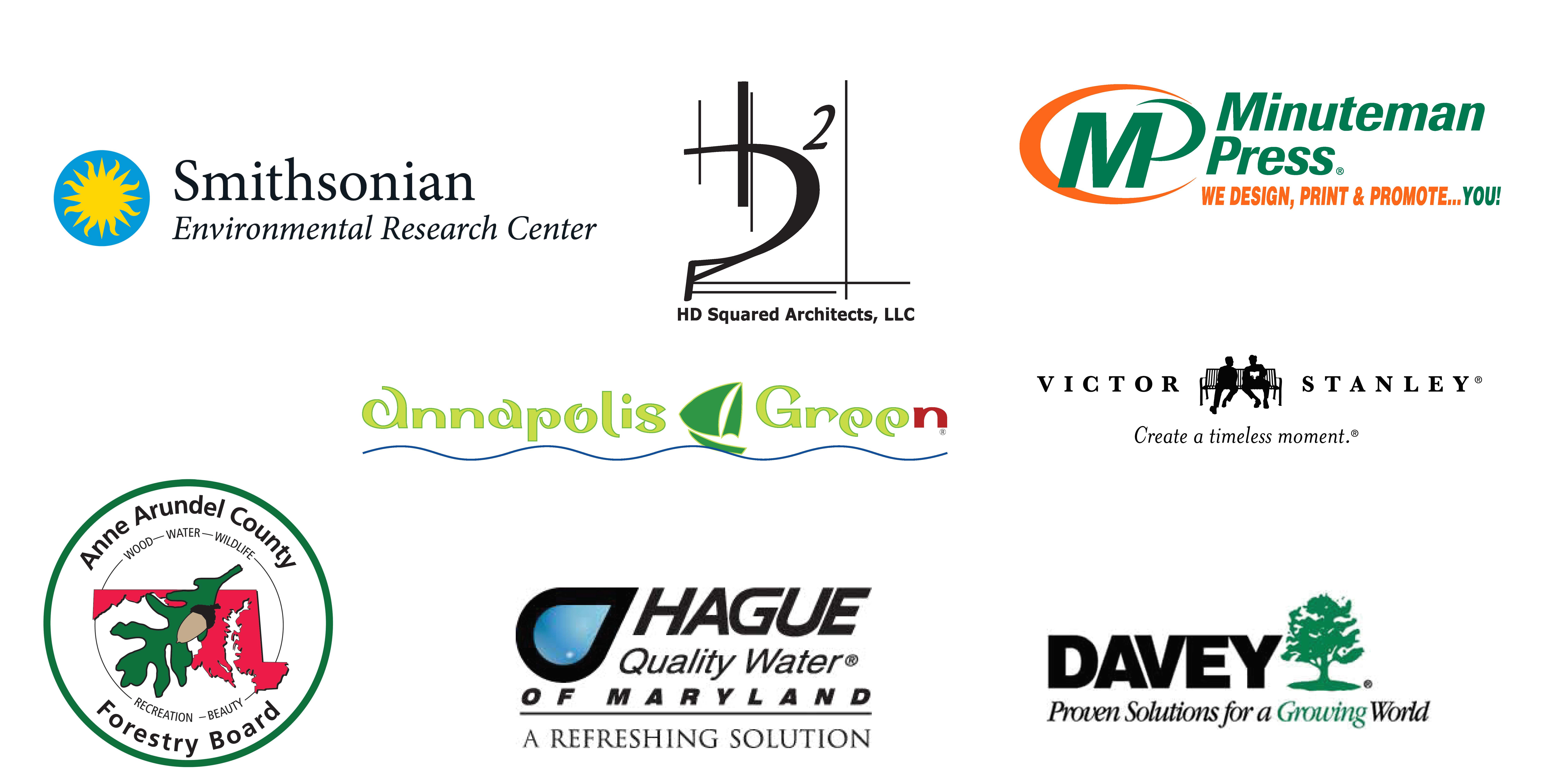 Homestead Gardens Green Expo Sponsors including Smithsonian Environmental Research Center, Minuteman Press, Annapolis Green, Victor Stanley, AA County Forestry Board, Hague of Maryland, and Davey.
