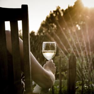 enjoying glass of wine at dusk in garden